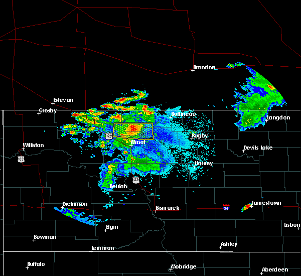 Radar Image for Severe Thunderstorms near Minot AFB, ND at 7/4/2015 8:14 PM CDT