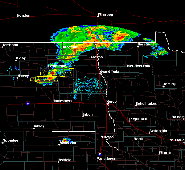 Radar Image for Severe Thunderstorms near New Rockford, ND at 7/4/2015 11:32 PM CDT
