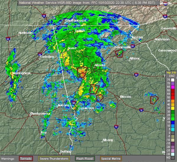 Radar Image for Severe Thunderstorms near Lindale, GA at 10/10/2020 6:47 PM EDT