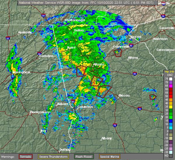 Radar Image for Severe Thunderstorms near Lindale, GA at 10/10/2020 6:58 PM EDT