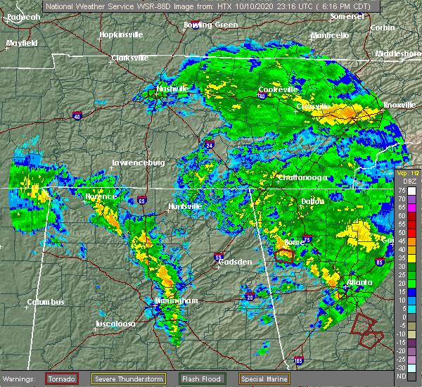 Radar Image for Severe Thunderstorms near Lindale, GA at 10/10/2020 7:29 PM EDT