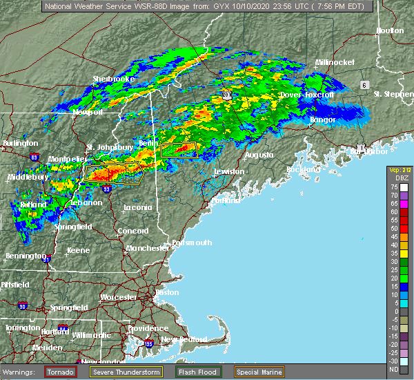 Radar Image for Severe Thunderstorms near North Conway, NH at 10/10/2020 8:00 PM EDT