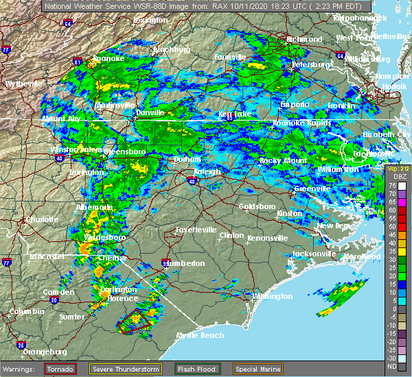 Radar Image for Severe Thunderstorms near Lilesville, NC at 10/11/2020 2:27 PM EDT