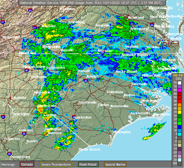 Radar Image for Severe Thunderstorms near Cordova, NC at 10/11/2020 2:42 PM EDT