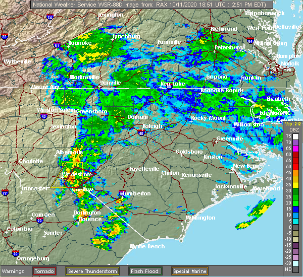 Radar Image for Severe Thunderstorms near Cordova, NC at 10/11/2020 2:55 PM EDT