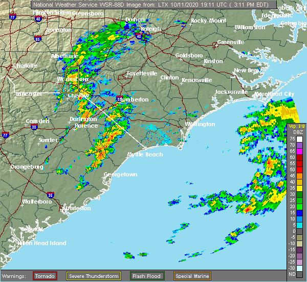 Radar Image for Severe Thunderstorms near Dillon, SC at 10/11/2020 3:18 PM EDT