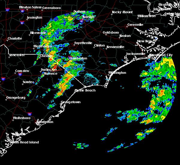 Radar Image for Severe Thunderstorms near Dillon, SC at 10/11/2020 3:37 PM EDT