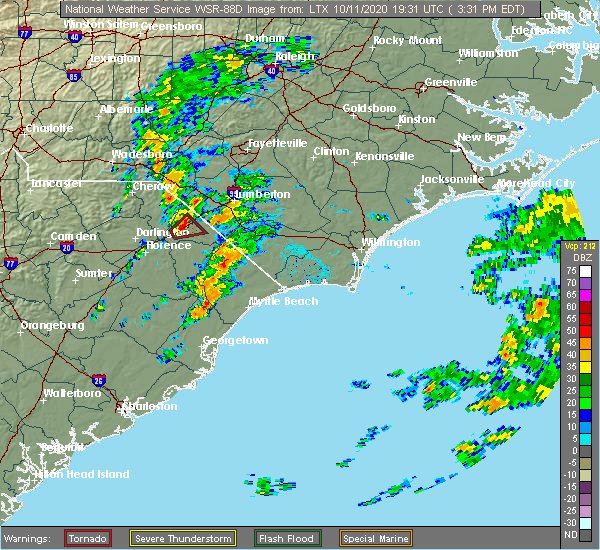 Radar Image for Severe Thunderstorms near Dillon, SC at 10/11/2020 3:40 PM EDT