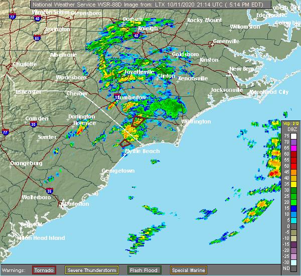 Radar Image for Severe Thunderstorms near Hallsboro, NC at 10/11/2020 5:17 PM EDT