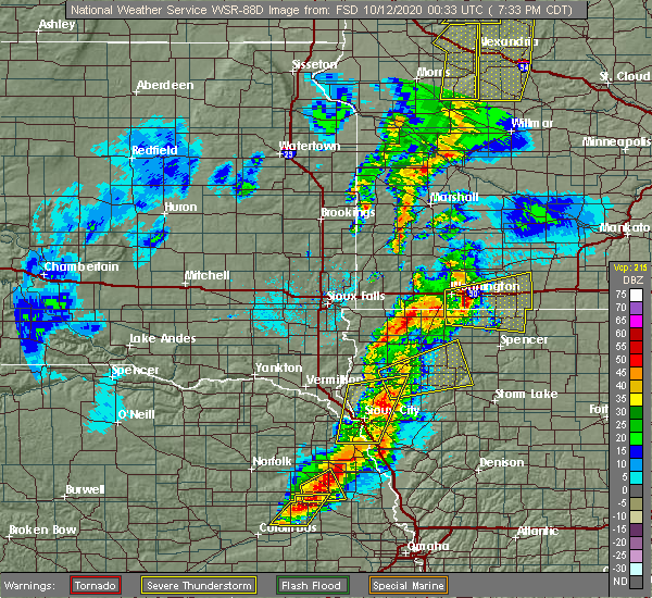 Radar Image for Severe Thunderstorms near Kinbrae, MN at 10/11/2020 7:44 PM CDT