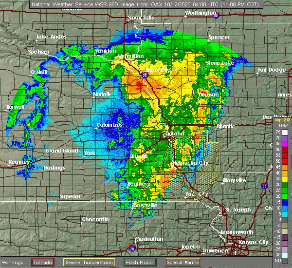 Radar Image for Severe Thunderstorms near Du Bois, NE at 10/11/2020 11:09 PM CDT