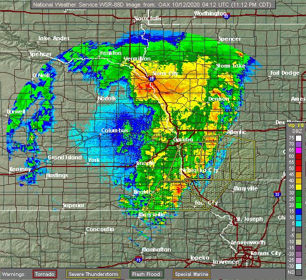 Radar Image for Severe Thunderstorms near Du Bois, NE at 10/11/2020 11:19 PM CDT