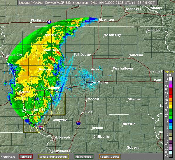 Radar Image for Severe Thunderstorms near Prescott, IA at 10/11/2020 11:40 PM CDT