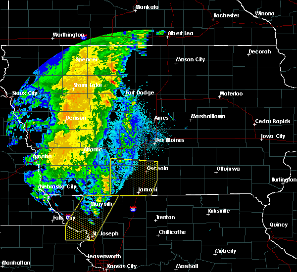 Radar Image for Severe Thunderstorms near Murray, IA at 10/12/2020 12:23 AM CDT