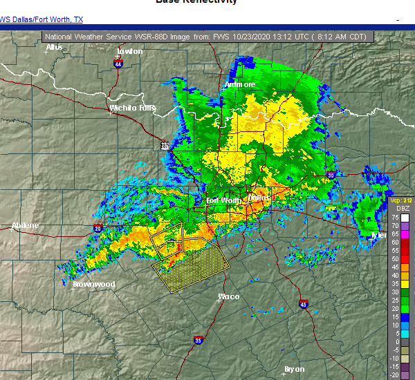 Radar Image for Severe Thunderstorms near Mansfield, TX at 10/23/2020 8:17 AM CDT