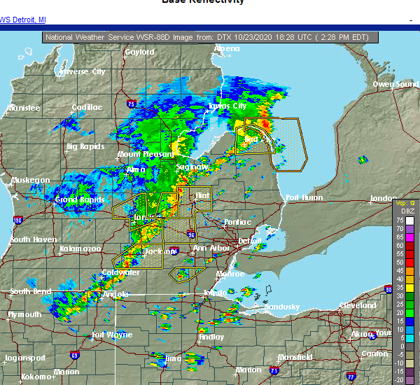 Radar Image for Severe Thunderstorms near Dundee, MI at 10/23/2020 2:31 PM EDT