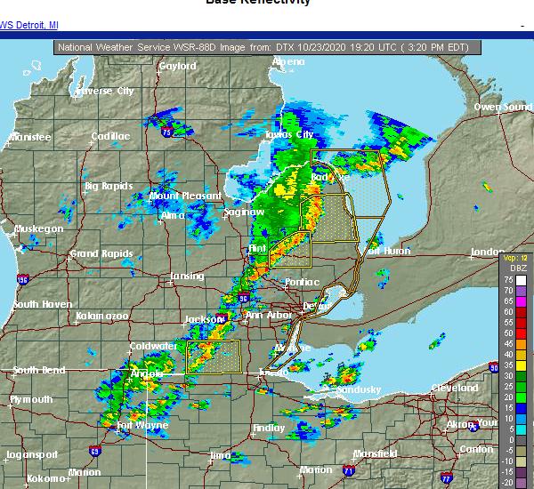 Radar Image for Severe Thunderstorms near Blissfield, MI at 10/23/2020 3:28 PM EDT