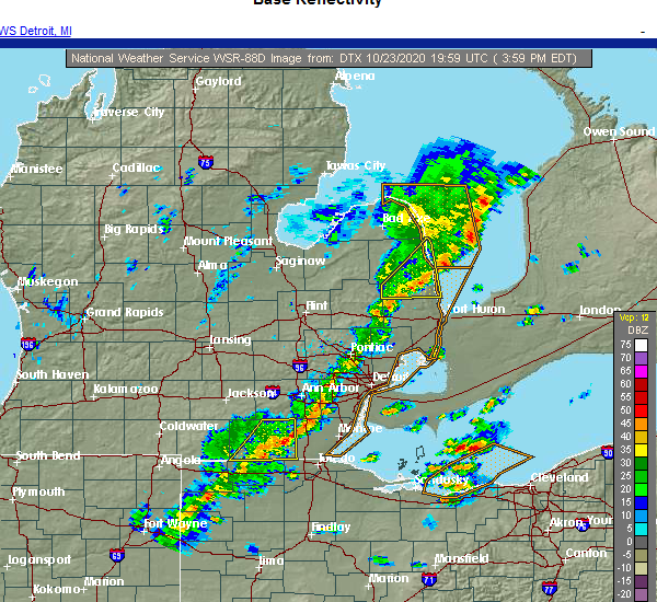 Radar Image for Severe Thunderstorms near Dundee, MI at 10/23/2020 4:03 PM EDT