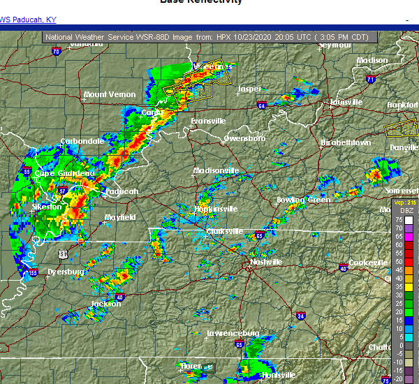 Radar Image for Severe Thunderstorms near Bruceton, TN at 10/23/2020 3:08 PM CDT