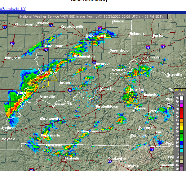 Radar Image for Severe Thunderstorms near Nicholasville, KY at 10/23/2020 4:10 PM EDT