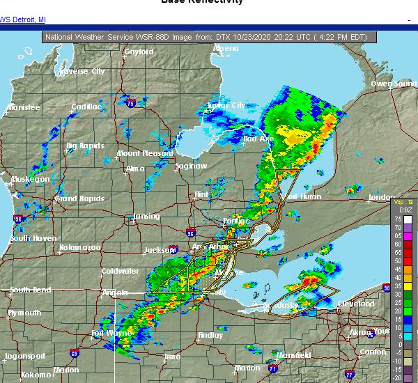 Radar Image for Severe Thunderstorms near Blissfield, MI at 10/23/2020 4:23 PM EDT