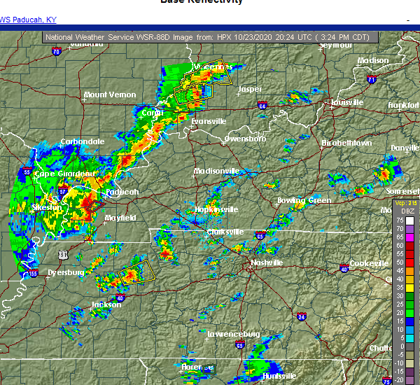 Radar Image for Severe Thunderstorms near Bruceton, TN at 10/23/2020 3:25 PM CDT