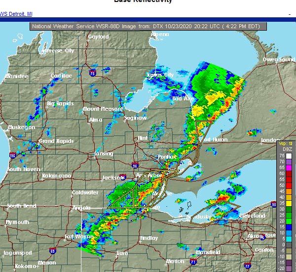 Radar Image for Severe Thunderstorms near Dundee, MI at 10/23/2020 4:27 PM EDT