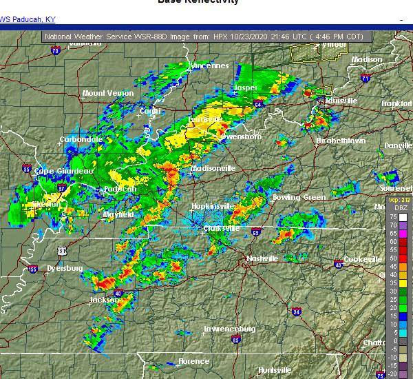 Radar Image for Severe Thunderstorms near Nashville, TN at 10/23/2020 4:50 PM CDT