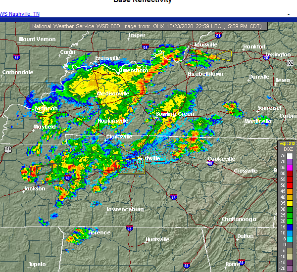 Radar Image for Severe Thunderstorms near Nashville, TN at 10/23/2020 6:09 PM CDT