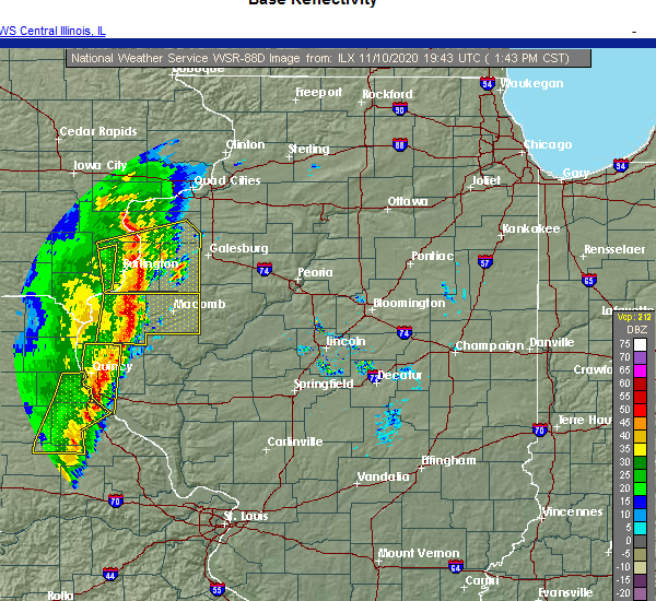 Radar Image for Severe Thunderstorms near Griggsville, IL at 11/10/2020 1:48 PM CST