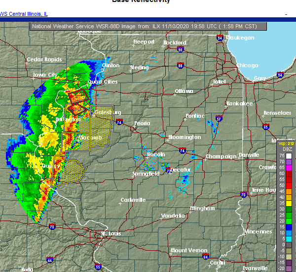 Radar Image for Severe Thunderstorms near Griggsville, IL at 11/10/2020 2:06 PM CST