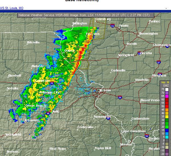 Radar Image for Severe Thunderstorms near Griggsville, IL at 11/10/2020 2:34 PM CST