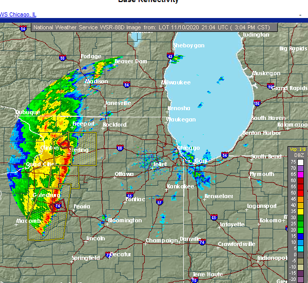 Radar Image for Severe Thunderstorms near Rockford, IL at 11/10/2020 3:23 PM CST