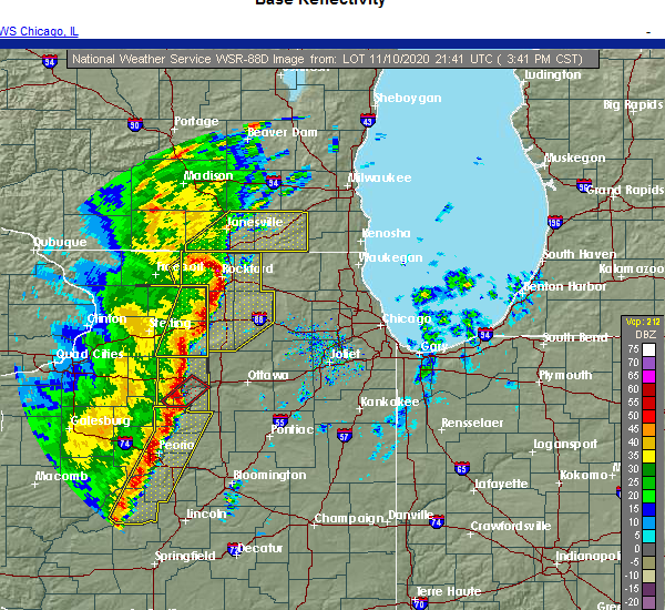 Radar Image for Severe Thunderstorms near Barrington Hills, IL at 11/10/2020 3:53 PM CST