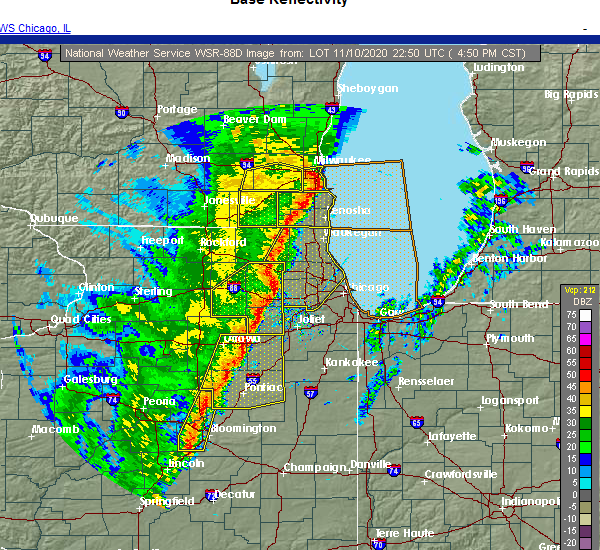 Radar Image for Severe Thunderstorms near Wilmington, IL at 11/10/2020 4:57 PM CST