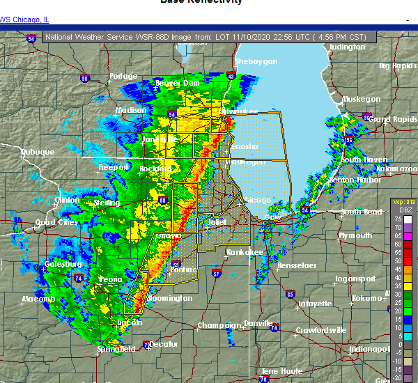 Radar Image for Severe Thunderstorms near Diamond, IL at 11/10/2020 5:01 PM CST