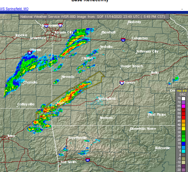 Radar Image for Severe Thunderstorms near Umber View Heights, MO at 11/14/2020 5:57 PM CST