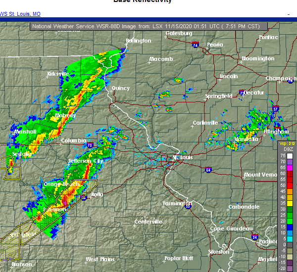 Radar Image for Severe Thunderstorms near Crocker, MO at 11/14/2020 7:59 PM CST