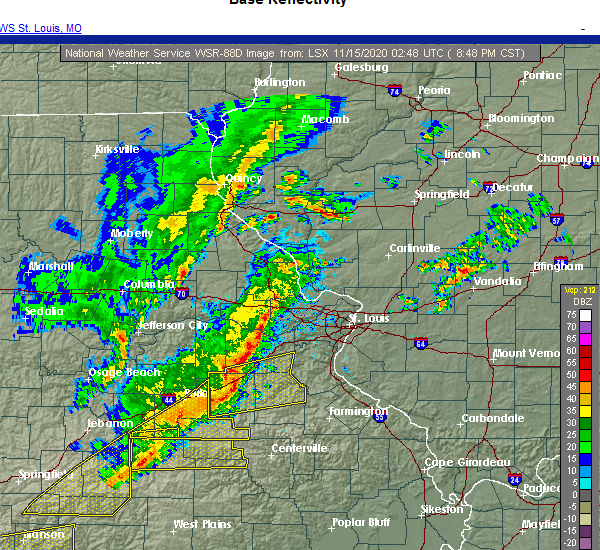 Radar Image for Severe Thunderstorms near Fort Leonard Wood, MO at 11/14/2020 8:54 PM CST