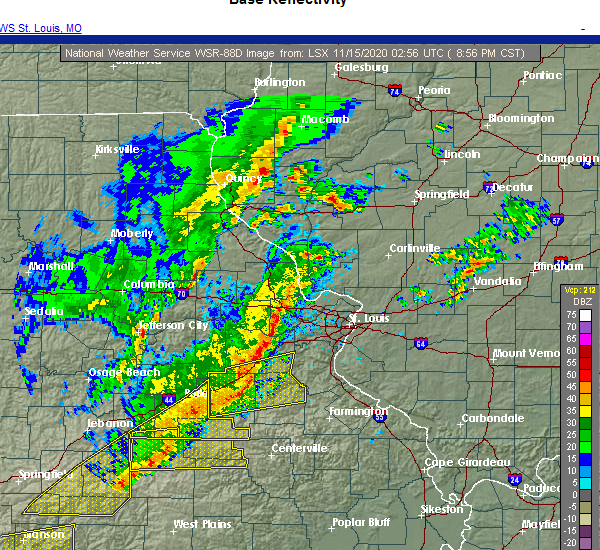 Radar Image for Severe Thunderstorms near Houston, MO at 11/14/2020 9:01 PM CST