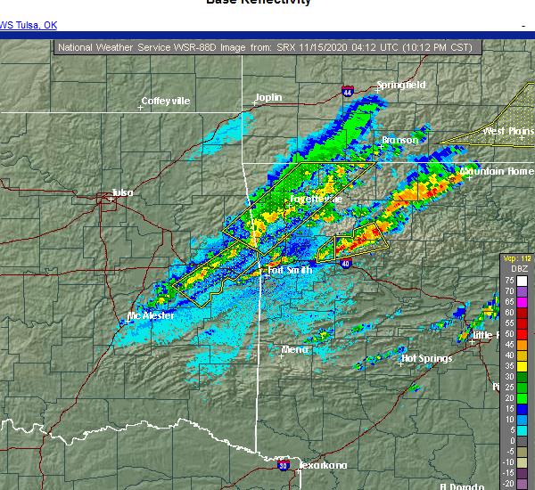 Radar Image for Severe Thunderstorms near Huntsville, AR at 11/14/2020 10:26 PM CST