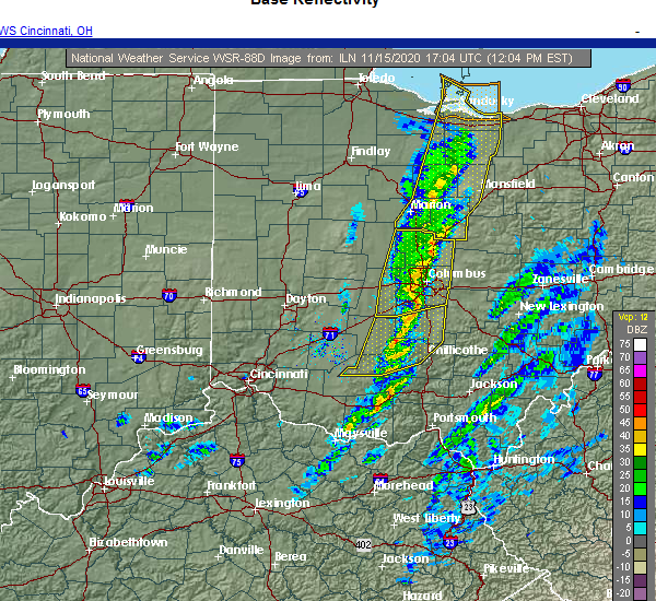 Radar Image for Severe Thunderstorms near Marble Cliff, OH at 11/15/2020 12:19 PM EST
