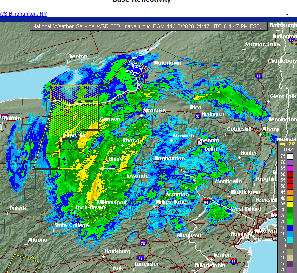 Radar Image for Severe Thunderstorms near Red Creek, NY at 11/15/2020 4:54 PM EST