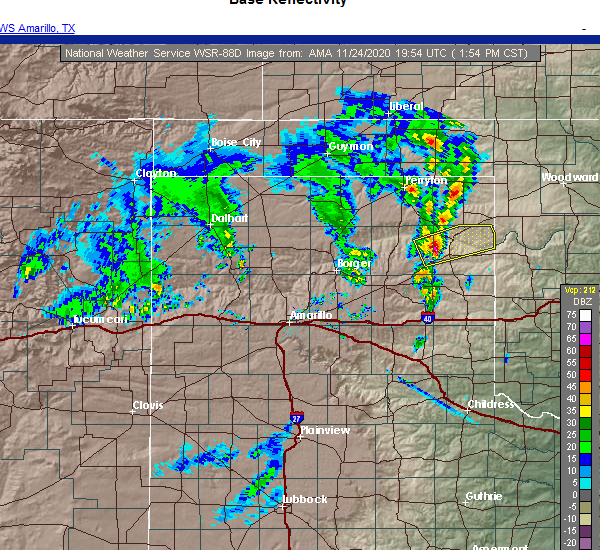 Radar Image for Severe Thunderstorms near Canadian, TX at 11/24/2020 1:56 PM CST
