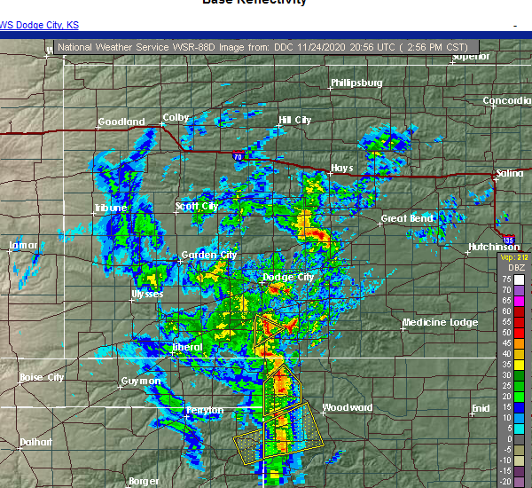 Radar Image for Severe Thunderstorms near Buffalo, OK at 11/24/2020 3:03 PM CST