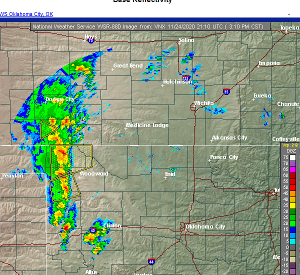 Radar Image for Severe Thunderstorms near Sharon, OK at 11/24/2020 3:13 PM CST