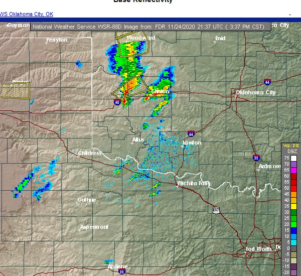 Radar Image for Severe Thunderstorms near Clinton, OK at 11/24/2020 3:42 PM CST