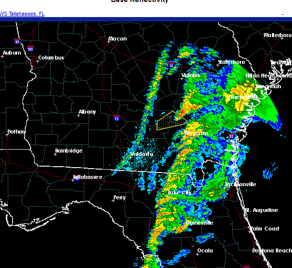 Radar Image for Severe Thunderstorms near Alma, GA at 11/30/2020 4:58 AM EST