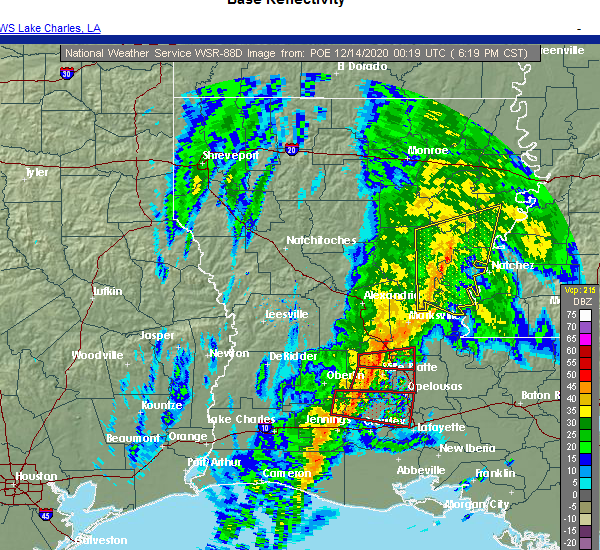 Radar Image for Severe Thunderstorms near Monterey, LA at 12/13/2020 6:25 PM CST