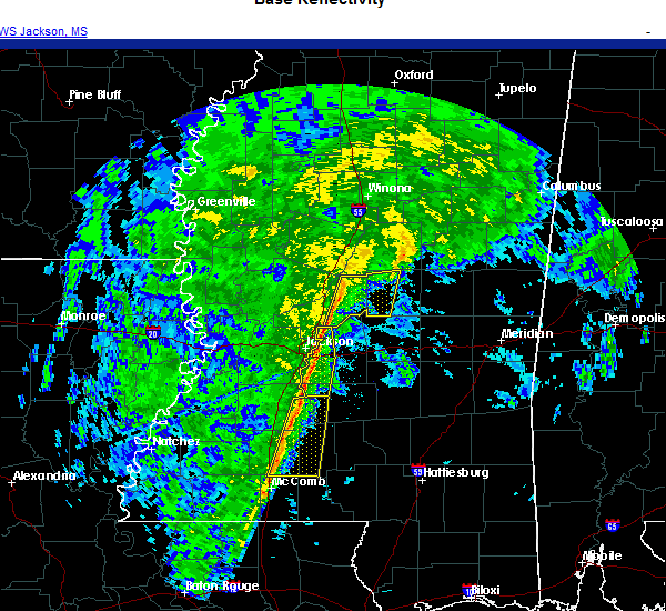 Radar Image for Severe Thunderstorms near Flowood, MS at 12/13/2020 8:51 PM CST